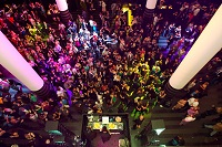 A shot from above of the SFMOMA atrium during a party
