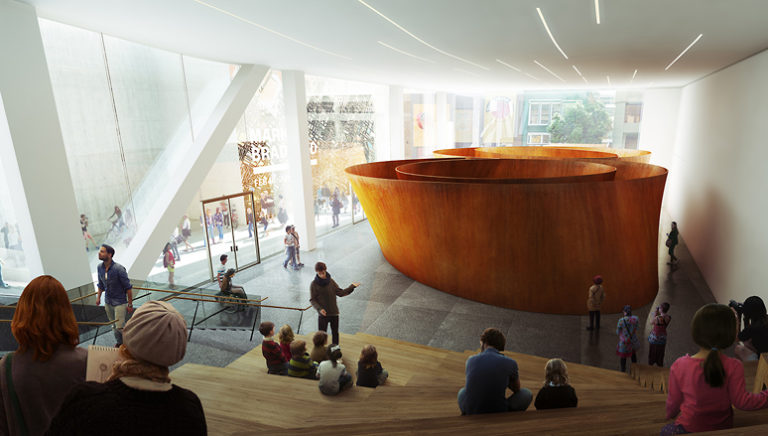 Rendering of the giant metal sculpture Sequence in SFMOMA's Howard Street Gallery
