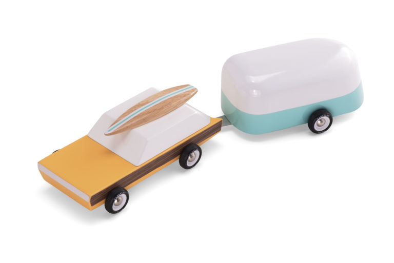 Wooden car and camper toy