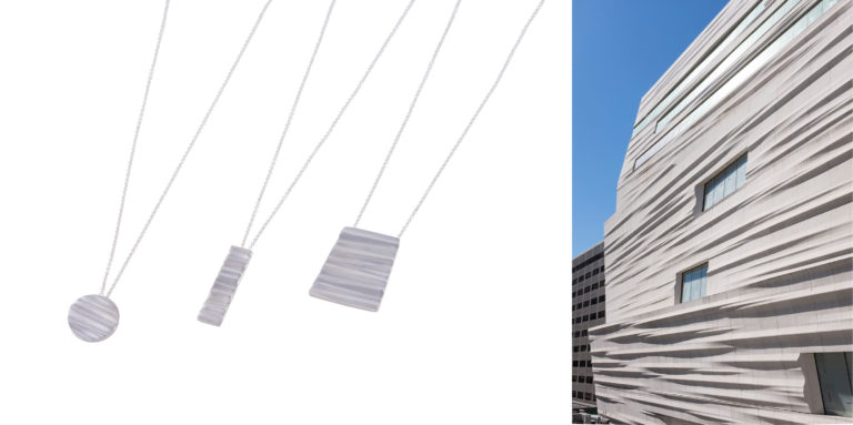 Three necklaces feature the same texture as the exterior of the SFMOMA Snøhetta expansion.