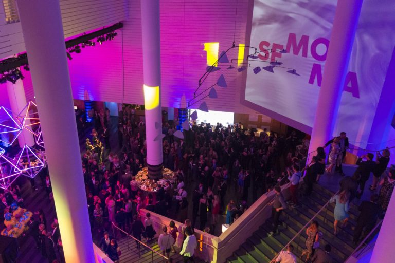 Aerial view of Modern Ball at SFMOMA