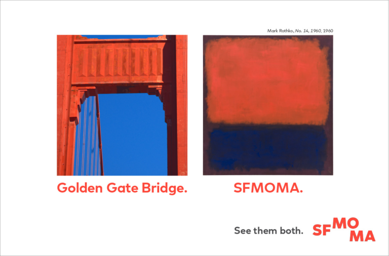 An advertisement with the Golden Gate Bridge next to a Mark Rothko painting