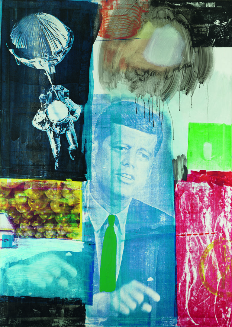 Colorful silkscreen with an image of JFK at center