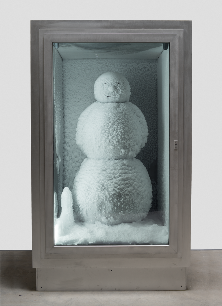 A color photograph of a snowman encased in a box,  Peter Fischli and David Weiss