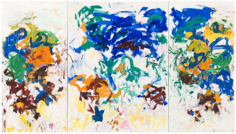 Three-panel abstract painting with colorful lines over an off-white background