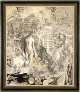"This graphite collage drawing, which measures almost six feet tall and five feet wide, is epic in scope and detail. The piece is blanketed with dozens of intricate, allegorical drawings that contain scores of characters, symbols, landscapes, and patterns. The central figure is a beautiful, lithe young man who kneels, in the nude, to our left of center, gazing toward a dark pool of water. In one hand he holds what appears to be a backscratcher, and in the other he holds a Krazy Kat comic strip – while giving us the middle finger. Behind him, on a rocky peak, stands another naked young man who has black eyes, a kaleidoscope halo, and a bow and arrow. Other details include an Egyptian-style sphinx, the Hoover Dam, a hexagram, the Star of David, the Pied Piper, bees in honeycomb, apartment buildings, flocks of birds, hills with eyes, the phrase ""Is Love Enough"", and a unicorn."
