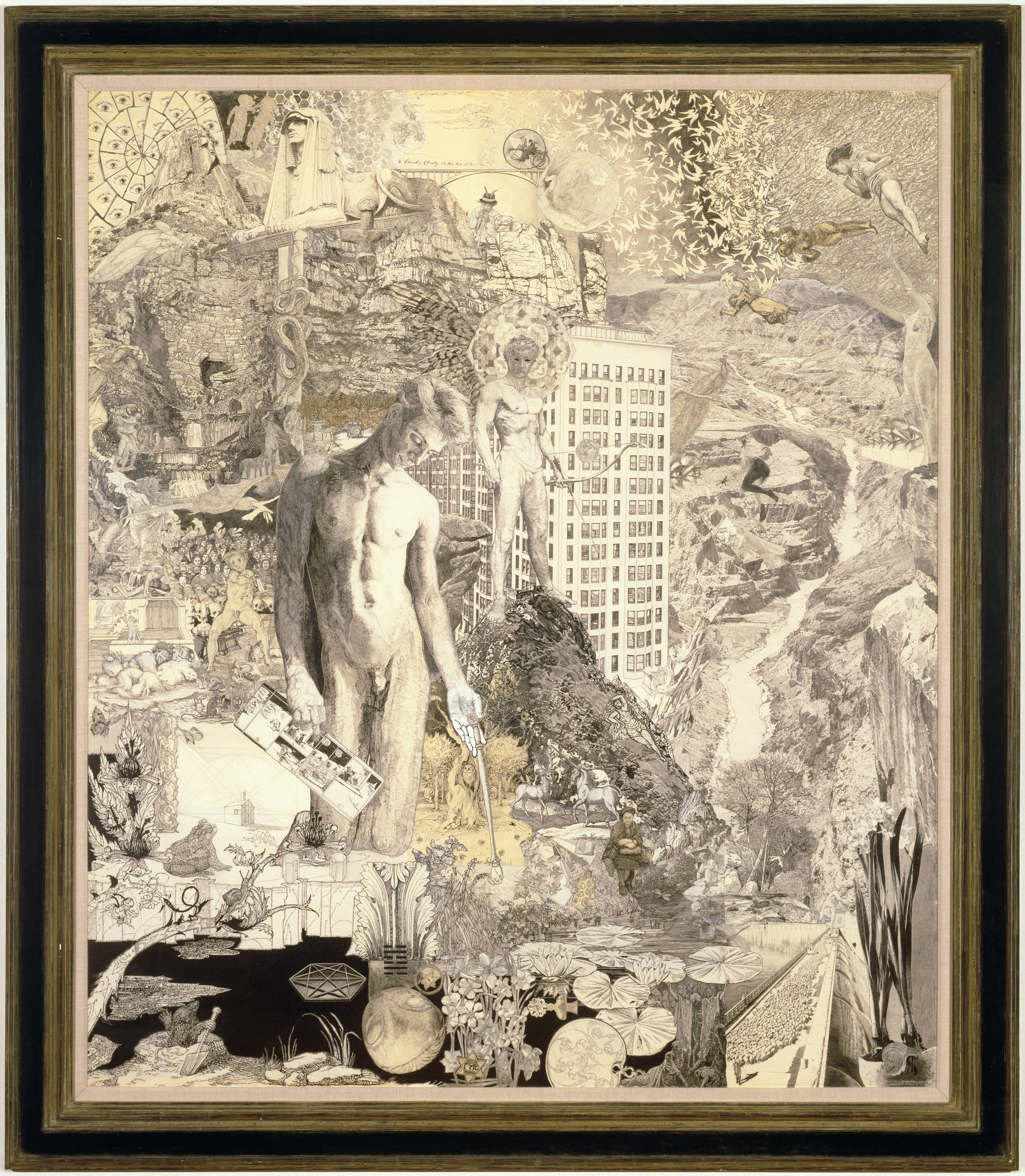 """This graphite collage drawing, which measures almost six feet tall and five feet wide, is epic in scope and detail. The piece is blanketed with dozens of intricate, allegorical drawings that contain scores of characters, symbols, landscapes, and patterns. The central figure is a beautiful, lithe young man who kneels, in the nude, to our left of center, gazing toward a dark pool of water. In one hand he holds what appears to be a backscratcher, and in the other he holds a Krazy Kat comic strip – while giving us the middle finger. Behind him, on a rocky peak, stands another naked young man who has black eyes, a kaleidoscope halo, and a bow and arrow. Other details include an Egyptian-style sphinx, the Hoover Dam, a hexagram, the Star of David, the Pied Piper, bees in honeycomb, apartment buildings, flocks of birds, hills with eyes, the phrase """"Is Love Enough"""", and a unicorn."""