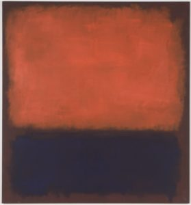 This oil painting features two roughly rectangular patches of color on a canvas that is nine-and-a-half feet tall, and almost nine feet wide. On the bottom third of the canvas is a patch of dark indigo blue, painted with quick, rough brushstrokes. Near our lower right-hand corner, the paint is so thick that it drips down and off of the canvas. A larger rectangle fills the top two thirds of the painting. This patch is a mottled, velvety, red-orange color that appears, in places, to glow from within. The two patches are separated and framed by a background the color of auburn hair. While the loose, sketch-like brushstrokes are evident in both patches, especially along the edges, the indigo rectangle on the bottom is far more dense. In contrast, the luminous red-orange patch is filled with bright streaks that resemble light trails, or neon afterglow.