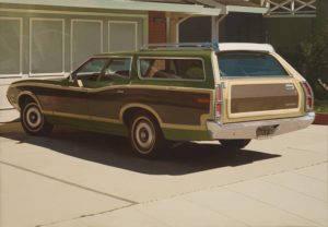 A 1970's wood-paneled station wagon is the subject of this photorealist oil painting. The car, a moss-green Gran Torino with mustard-yellow trim and dark wood panelling, sits in a driveway with its trunk at our right and the hood to our left. The car is pristine, as is the pale driveway beneath and the closed garage door at its nose. A dark shadow lies beneath the car, and sunlight reflects off of the windshield and washes over the garage door in rippling waves. Light from the unseen sun plays on the car windows and shines on the chrome roof rack, side mirror, and steel bumper. Every detail has been included in this four-foot tall, nearly six-foot wide painting: a thin line of grass grows in the crack between the driveway and the sidewalk; the dealer name 'Berkley Golden Bear Ford' adorns the license plate frame; the valve stems are present on the tires; and the nearly hidden muffler can be found in the dark shadow underneath the car.