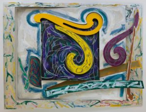 "This painting feels aggressive, off-kilter and noisy. The color palette is deliberately clashing with deep blues, marigold yellows, bright pinks and greens churning around each other.  In the center, two massive yellow swirls command your attention.  They are separate, individual cutouts resembling architectural drafting tools known as French curves.   The vertical swirl, looping downward like the letter ""j"" protrudes from a large square. The square itself is painted dark blue, black, and forest green, with white scribbles.  The yellow ""j"" that juts out from the square has been blotted with a dark, grainy texture.  Just above it, the second yellow swirl lays horizontally across the top of the square.   Its center has been partially cut away, allowing the square behind it to show through.   The horizontal swirl is outlined with a wide, smudgy marine blue..   To the right, another swirl painted raspberry reaches toward the upper right corner of the painting.  All of these pieces cast shadows onto the aluminum structure. In the lower left corner, a thin, metal cutout rises vertically, canting to the left.  It's painted green and pink.  Immediately to its right is a teal leaf-like shape covered in red and yellow scribbles.   The shape is tilted inward, cutting into the interior space of the painting.   Running across the bottom of the artwork is a horizontal metal plank painted dark green, and covered with jagged, white brushstrokes and vibrant green scribbles.   It almost seems to be floating in front of the painting.    In the lower right corner of the piece, it intersects with a thin strip of metal that rises vertically, painted and scribbled on in three different shades of red."
