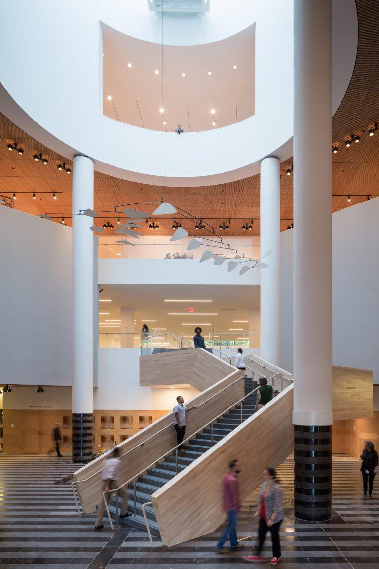 A Calder mobile hanging in the museum's atrium