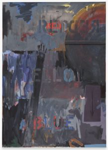 <p>Streaks and smears of rusty gray, black, and blue oil paint cover this five-and-a-half-foot tall, four-foot wide canvas. The patches of thick paint, muddy brushstrokes, and metallic palette create the look of a grimy, industrial wall. Half of a large circular smear fills our upper right hand corner, and a thin downward pointing arrow appears in a rectangular shape beneath it. On the left hand side, an outstretched black arm reaches up from the bottom of the canvas and ends in an actual hand-print. The patches of paint that cake the canvas imply three horizontal bands, each featuring a word produced with an industrial stencil. At the center of the uppermost band, the word 'RED' has been written in small uppercase letters using red paint, and is the brightest point on the canvas. In the middle section the word 'YELLOW' has been added using gray, blue, purple, and black paint. In the bottom third the word 'BLUE' has been stenciled in red, blue, and black paint. Beneath it, an orange letter 'U' appears on its side, as if slipping off of the canvas.</p>