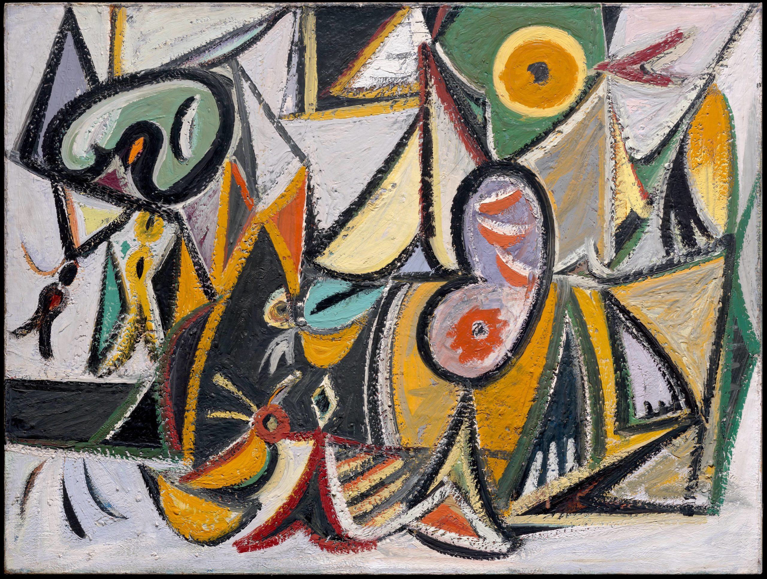 This three-foot-tall, four-foot-wide, abstract oil painting features thick black outlines and cloisonné color, like a stained glass window. The canvas has been broken down into dozens of separate, overlapping shapes, some of which are vaguely representational. A face resembling an artist's palette can be discerned near our upper left, and a large capsule-shaped object with triangular eyes and an open mouth occupies the bottom half of the canvas. Both above and below this creature are triangular shapes which might represent teepee-style conical tents. The forms are filled with intense greens, yellows, and golds, as well as large amounts of white pigment, which gives the canvas a bright, luminous quality. The paint is uniformly thick, and the artist's brush marks are evident, giving the canvas a waxy texture.