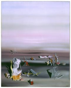This three foot tall, two-and-a-half foot wide oil painting features unusual forms in a vast open space. The strange forms occupy the bottom third of the canvas, while the upper two thirds is a great expanse of misty violet haze. In this dream-like world, the mysterious forms cast shadows on the cloudy gray ground, which transitions into the pastel sky without a distinct horizon line. The forms themselves are unique and bizarre, painted with crisp detail and an opalescent palette. Some have biomorphic elements that resemble undulating seashells or melted plastic, while others have features that suggest blown glass and corrugated tin. Several of the forms are linked by taut threads or wires, though no pattern is readily discernible.