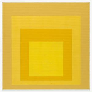 This four-foot by four-foot oil painting features four nested squares, each one a different shade or tint of yellow. At the heart of the painting, centered near the bottom of the Masonite pressed fiberboard, is a solid, bright-yellow square. Successively larger squares surround it, creating a series of uniform frames. Moving from the smallest to the largest, the next square, or frame, is a rich, golden yellow, followed by a square the color of honey. The largest square is the dullest of the four different yellows: the color of dijon mustard. A thin, off-white border marks the edge of the painting, and could be considered a fifth square. While each square is distinct and rendered with hard edges, the colors involved are somewhat ambiguous, due to the influence that the adjacent colors have on one another. The diminishing squares can give the appearance of a receding tunnel, with the bright-yellow square in the distance. This four-foot by four-foot oil painting features four nested squares, each one a different shade or tint of yellow. At the heart of the painting, centered near the bottom of the Masonite pressed fiberboard, is a solid, bright-yellow square. Successively larger squares surround it, creating a series of uniform frames. Moving from the smallest to the largest, the next square, or frame, is a rich, golden yellow, followed by a square the color of honey. The largest square is the dullest of the four different yellows: the color of dijon mustard. A thin, off-white border marks the edge of the painting, and could be considered a fifth square. While each square is distinct and rendered with hard edges, the colors involved are somewhat ambiguous, due to the influence that the adjacent colors have on one another. The diminishing squares can give the appearance of a receding tunnel, with the bright-yellow square in the distance.