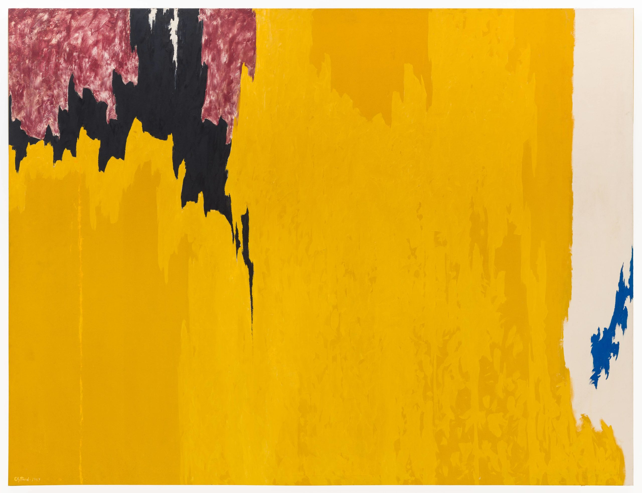 This vast oil painting by Clyfford Still measures nine and a half feet high by more than twelve feet wide. It plunges the viewer into a vast, radiant field of yellow and gold, animated by the motion of brushwork within, that drenches the canvas from top to bottom for most of its breadth. There are two exceptions: in the upper left corner, jagged curtains of black and crimson descend on the yellow, making knife-like incursions into the radiant field as they move downward and closer to the center. And about a foot before the right edge of the painting, the continuous yellow and gold expanse gives way to a tall band of white, unprimed canvas, leaving only two small flame-like peaks near the lower right corner and, above them, an irregularly shaped royal blue life-form that climbs through the white breach to the canvas's edge.