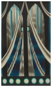 This four-foot-tall, two-and-a-half foot wide oil painting places us inside a streamlined suspension bridge, looking from one end to the other. The perfectly centered perspective and the bridge's structure make the painting nearly symmetrical. Thick, smooth, cables swoop in from the lower edges of the canvas as they arch up toward the center. Off of the cables hang thin black wires that stretch down toward the bottom of the painting. On either side of the center are gothic archways, through which shiny silver towers and a blue sky can be found. Framing the bottom of the painting is a horizontal black bar, adorned with a row of seven glowing circles. A matching circle, which is split in two by the vertical line between the archways, hangs two-thirds of the way up the canvas.