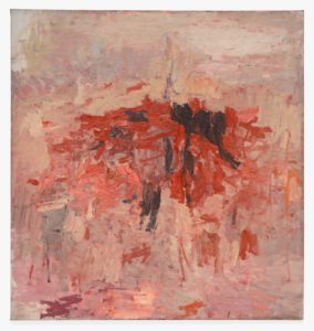 This abstract oil painting, over six feet tall and six feet wide, features a tangle of brick-red slashes strewn with clots of black, floating against a field of pink. The tangle contains thick paint and wild brushstrokes, and hovers at the center of the nearly square canvas like an uprooted island at sunset. In the background is a sea of muted pinks and pastel peaches. Near the bottom of the canvas, the background has been rendered with the same intense energy as the tangle itself. Above the tangle, however, the paint is lighter, and much smoother, and appears almost mottled or dappled. [THIS DESCRIPTION INCLUDES INFORMATION ABOUT THE SCULPTURE (OR STRUCTURE) ITSELF, NOT JUST THE IMAGE PROVIDED] This sculpture, or structure, is a ten-foot-long black box with nine [ten?] separate peepholes. Inside the first peephole, moving from our left to right, is a black-and-white photograph of a nude woman. She sits, facing us, with her hands on the tops of her thighs. Her shoulders are narrow, her hips are wide, and there is a thin horizontal fold in the flesh above her navel. In the second peephole, the same photograph is shown, only the figure appears closer to us. Now the subject's head and feet have been cut out of the frame. In each subsequent peephole, the woman appears closer and closer, as if we are zooming in on her. By the third peephole the woman is shown from shoulders to knees, and in the fourth from breasts to thighs. In the sixth peephole we are presented with the woman's midsection from the top of her pubic hair to the shadow of her breasts. By the tenth and final peephole the woman's navel and the fold in the flesh above it fill the entire frame.