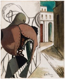 In this foot-and-a-half tall, one foot wide oil painting, a mechanical man stands on a side street staring at a figure sketched onto a white wall. The mechanical man stands on our left with his back to us, slightly stooped with his head tilted to one side. His body is composed of two riveted copper shoulder plates, an olive green hip plate, and a matching neck and helmet piece. Much of his torso is gaping and open, revealing hints of inner coils and springs. His broad body blocks much of the wall graffiti, which appears to be a black outline of a similar mechanical man, not unlike a ghostly reflection. The wall ends near the middle of the canvas, allowing a glimpse into the sunny street beyond. The buildings are white, when not in shadow, and feature tall arches and rectangular windows with multiple vanishing points in their three-dimensionality.