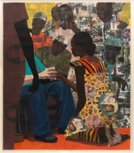 This collage, which measures five-and-a-quarter feet tall and four-and-a-half feet wide, features a young black woman in a traditional Nigerian dress, kneeling before a seated white man as a crowd gathers around. The woman kneels on our right, facing away from us to the left, as she hands the seated white man a full glass. The face of the white man is obscured by an onlooker who fills the entire left edge of the canvas. She wears a long, printed dress that features a formal portrait of a woman in pearls and a headscarf. The seated man's black sneakers, blue jeans and teal t-shirt are unadorned and have been rendered in acrylic paint and pastel, whereas the kneeling woman's dress is heavily patterned, features bold oranges and golds, and is made of custom fabrics adorned with formal portraits of the same young black woman and white man. In the background, the other onlookers have been rendered with a collage of translucent photo transfers, which appear to be family photos, magazine images, and album art.  This collage, which measures five-and-a-quarter feet tall and four-and-a-half feet wide, features a young black woman in a traditional Nigerian dress, kneeling before a seated white man as a crowd gathers around. The woman kneels on our right, facing away from us to the left, as she hands the seated white man a full glass. The face of the white man is obscured by an onlooker who fills the entire left edge of the canvas. She wears a long, printed dress that features a formal portrait of a woman in pearls and a headscarf. The seated man's black sneakers, blue jeans and teal t-shirt are unadorned and have been rendered in acrylic paint and pastel, whereas the kneeling woman's dress is heavily patterned, features bold oranges and golds, and is made of custom fabrics adorned with formal portraits of a [the same] young black woman and white man. In the background, the other onlookers have been rendered with a collage of translucent photo transfers, which appear to be family photos, magazine images, and album art.